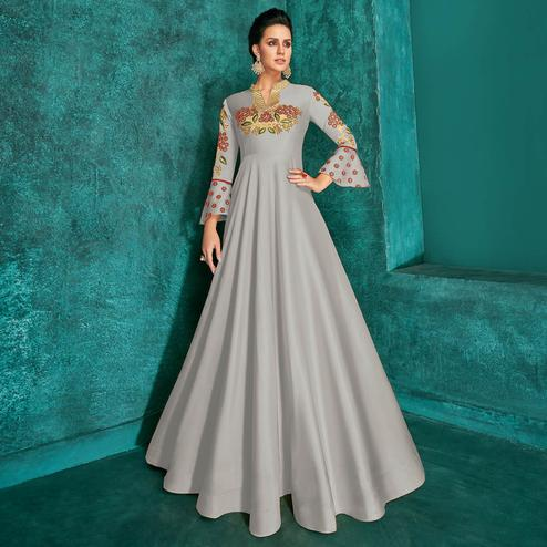 Adorning Grey Colored Party Wear Embroidered Silk Gown
