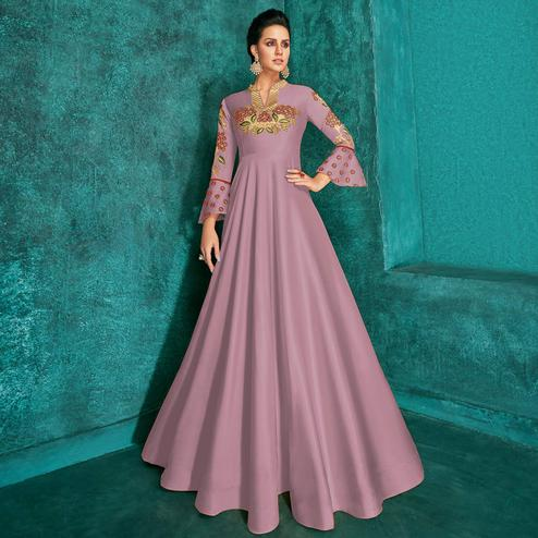 Entrancing Pink Colored Party Wear Embroidered Silk Gown