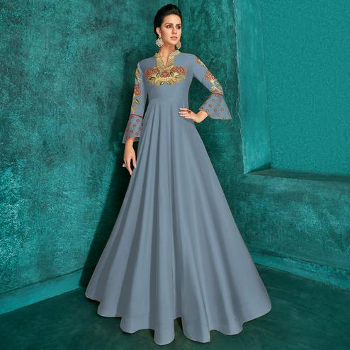 Capricious Bluish Grey Colored Party Wear Embroidered Silk Gown