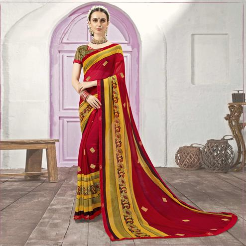 Eye-catching Red Casual Printed Georgette Saree