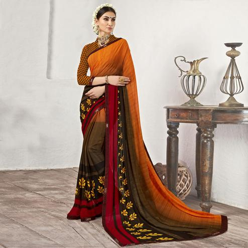 Amazing Orange-Multi Casual Printed Georgette Saree