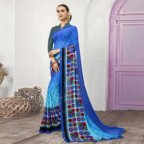 Gorgeous Blue Casual Printed Georgette Saree