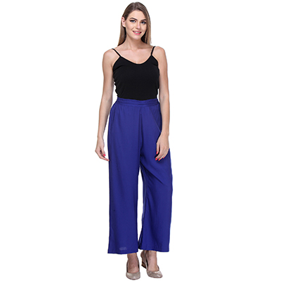 Solid Blue Casual Wear Palazzo