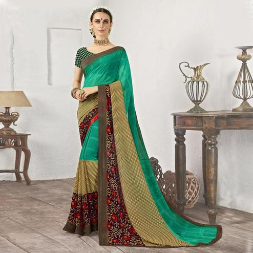 Lovely Turquoise Green Casual Printed Georgette Saree
