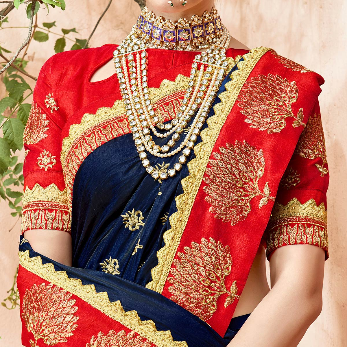 Captivating Navy Blue Colored Partywear Embroidered Georgette Saree