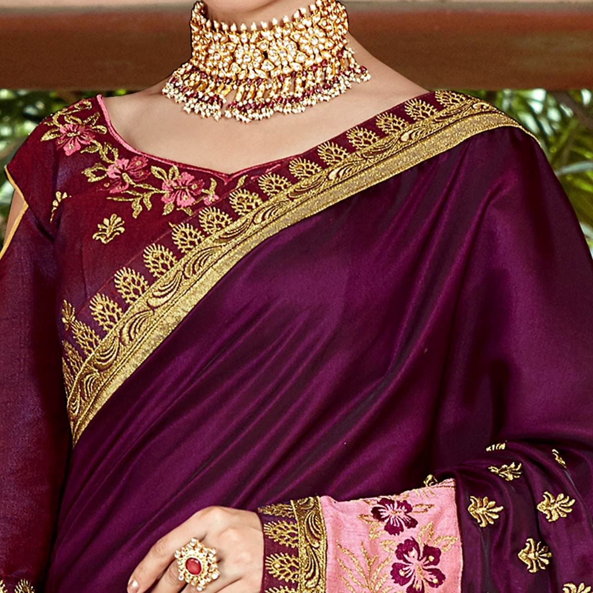 Fantastic Dark Purple Colored Partywear Embroidered Georgette Saree