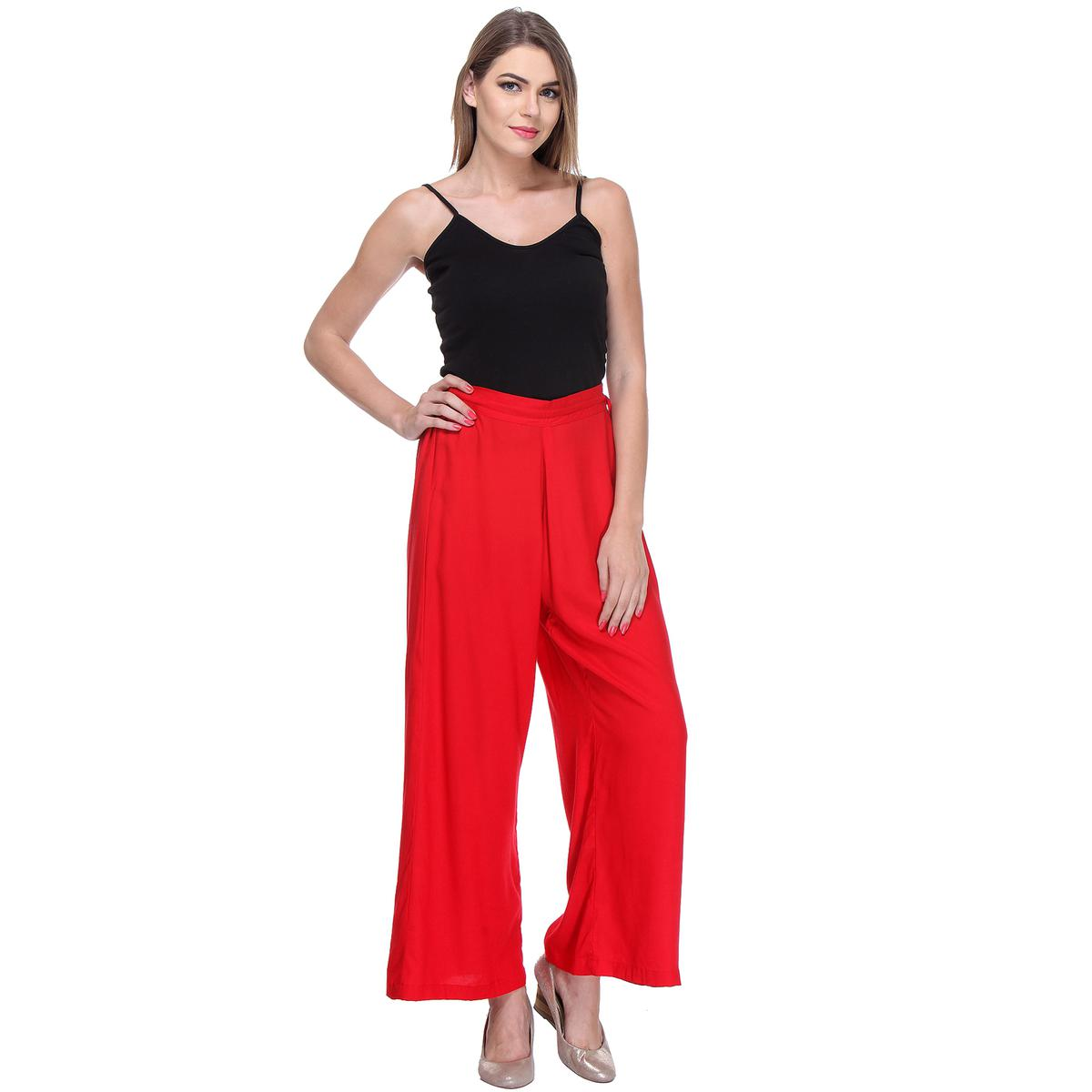Solid Red Casual Wear Palazzo