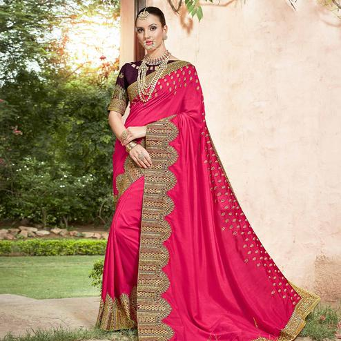 Gorgeous Pink Colored Partywear Embroidered Georgette Saree