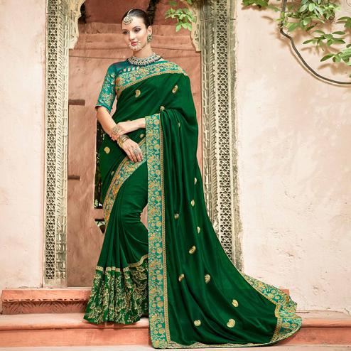 Blissful Green Colored Partywear Embroidered Georgette Saree