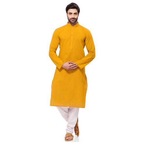Energetic Yellow Colored Festive Wear Cotton Long Kurta