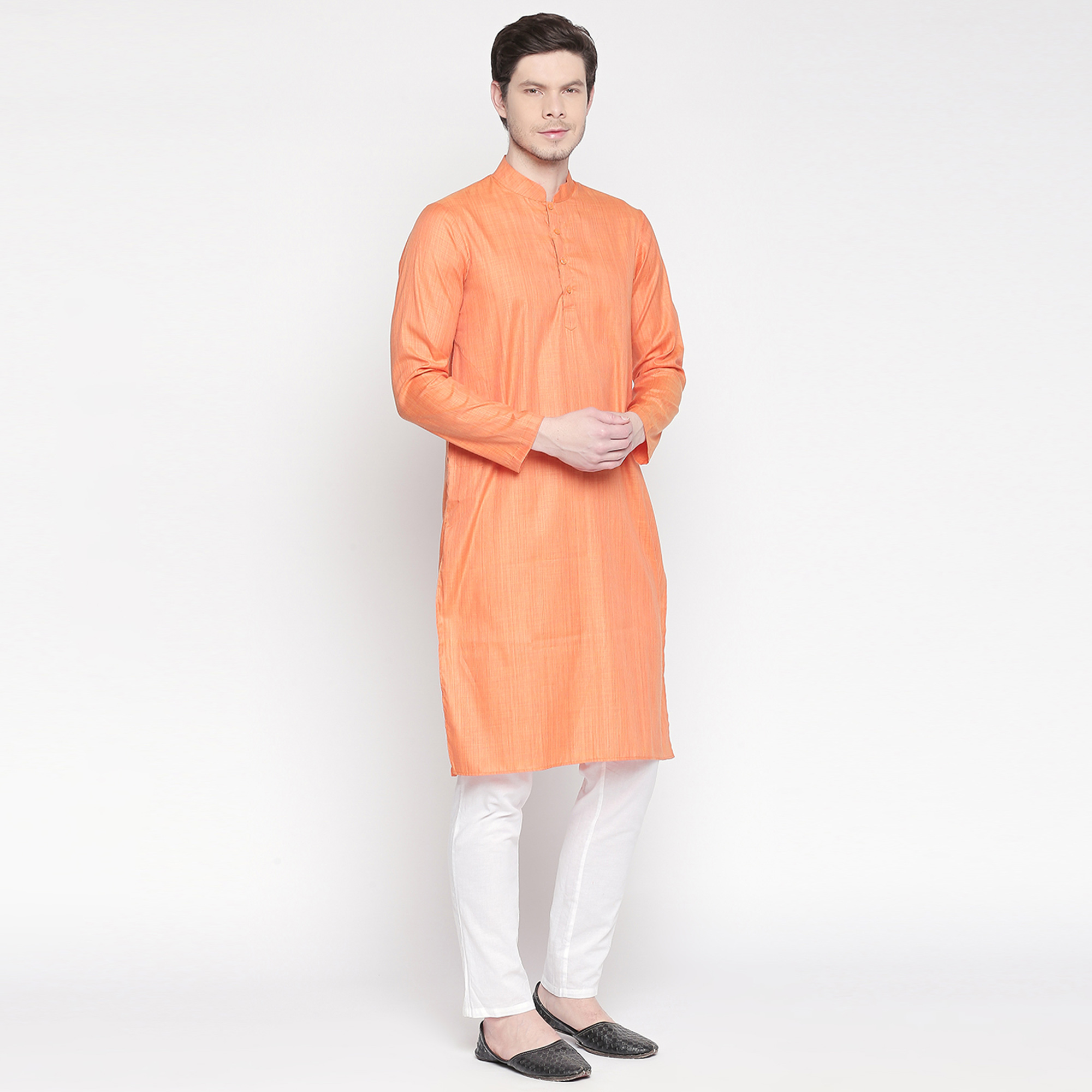 Glowing Orange Colored Festive Wear Cotton Long Kurta