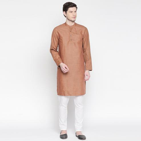 Exceptional Beige Colored Festive Wear Cotton Long Kurta