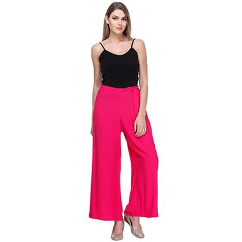 Plain Palazzo Pants in Pink