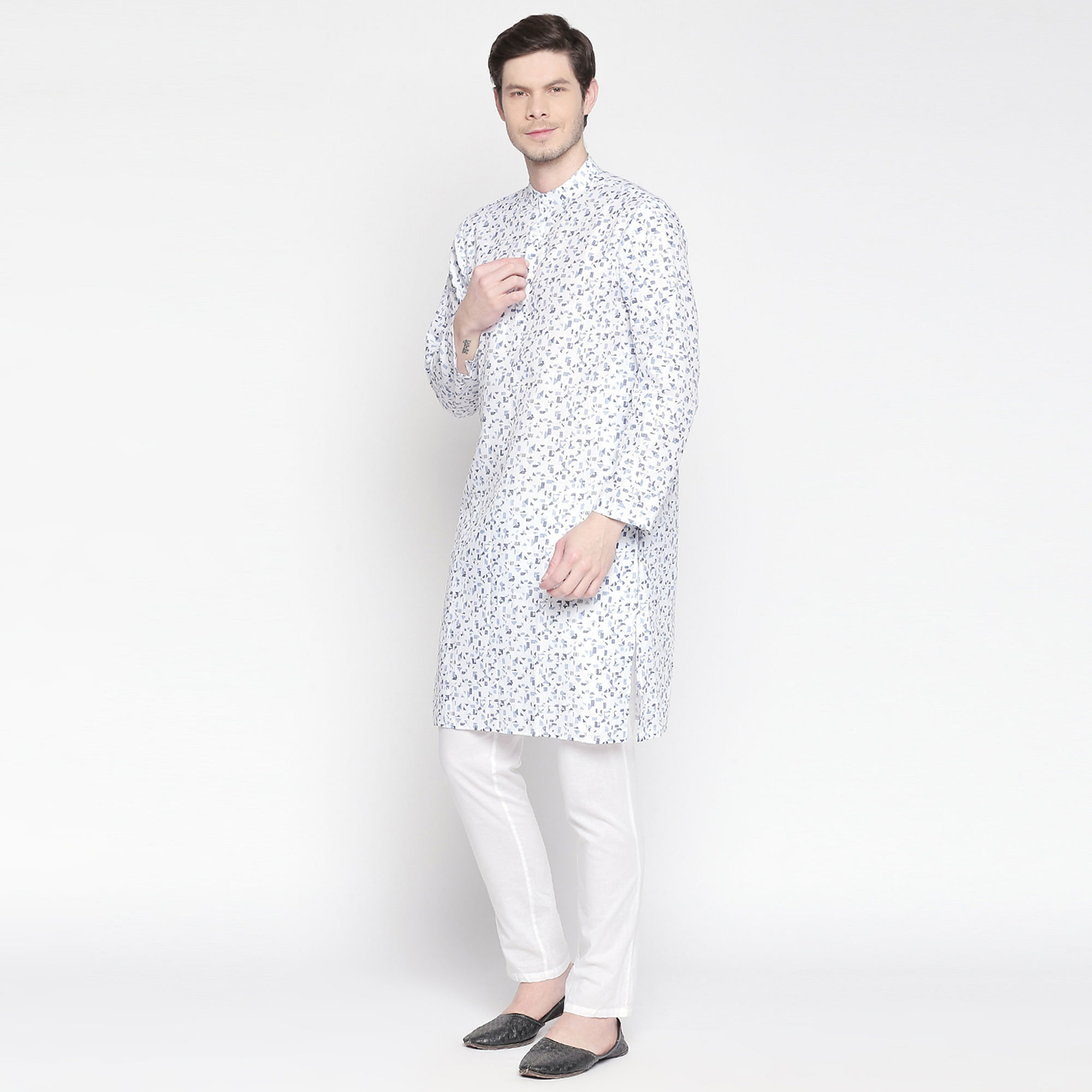 Gleaming White Colored Festive Wear Cotton Long Kurta