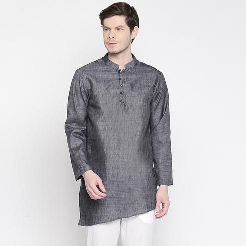 Exotic Grey Colored Festive Wear Cotton Short Kurta