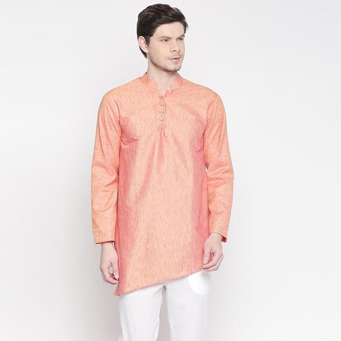 Trendy Rust Orange Colored Festive Wear Cotton Short Kurta