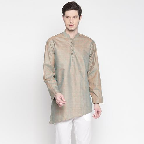 Elegant Grey Colored Festive Wear Cotton Short Kurta