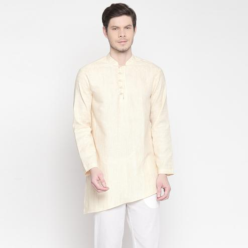 Radiant Beige Colored Festive Wear Cotton Short Kurta