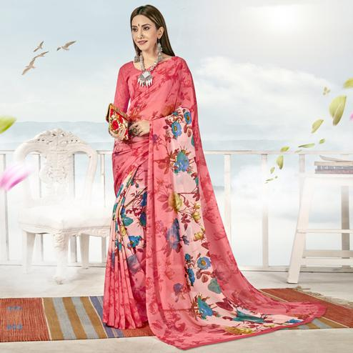 Innovative Pink Color Casual Printed Georgette Saree
