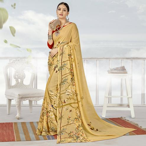 Eye-catching Beige Color Casual Printed Georgette Saree