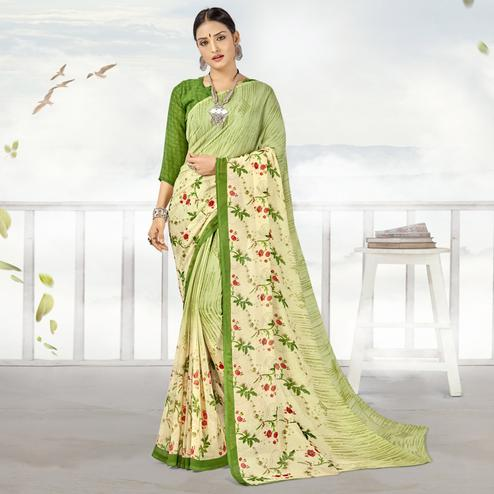 Fantastic Light Green Color Casual Printed Georgette Saree