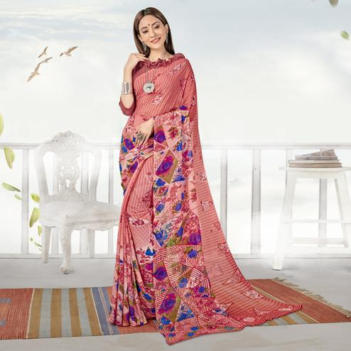 Mesmeric Peach Color Casual Printed Georgette Saree