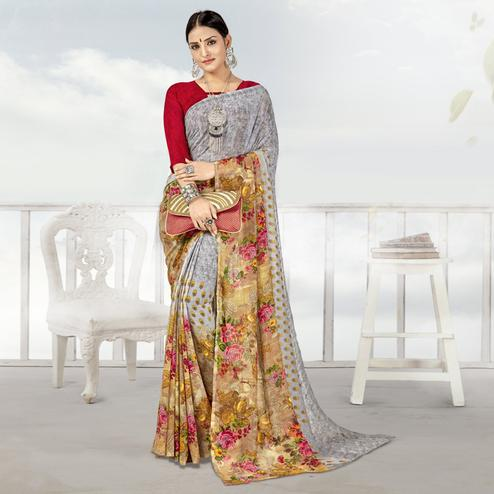 Unique Grey Color Casual Printed Georgette Saree