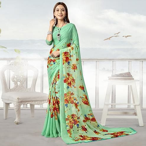 Demanding Aqua Green Color Casual Printed Georgette Saree