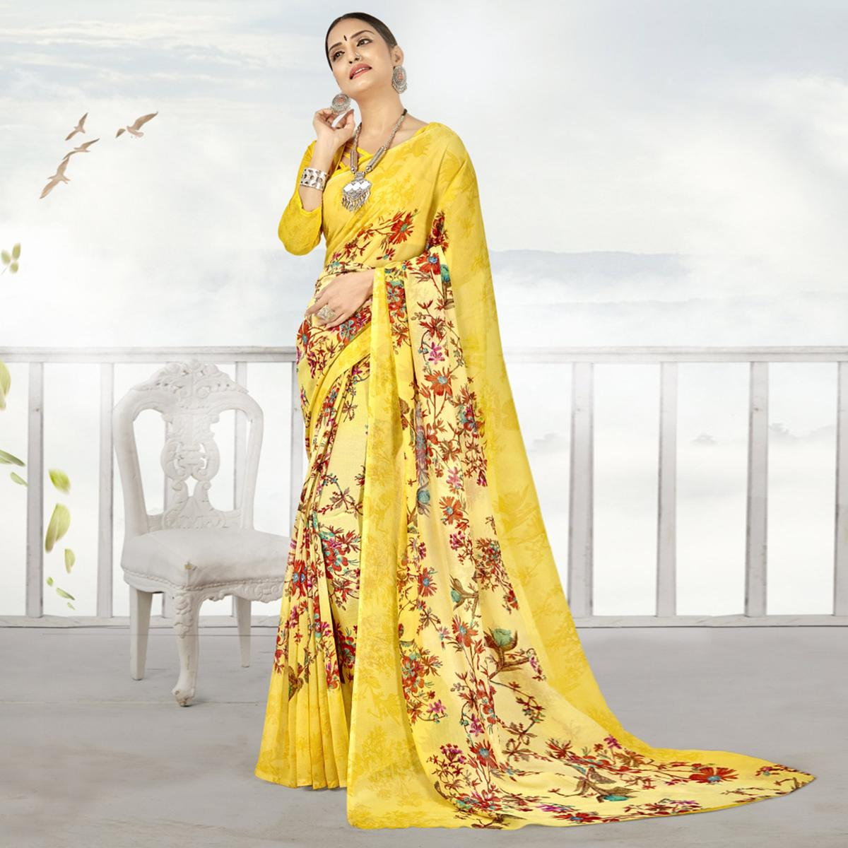 Refreshing Yellow Color Casual Printed Georgette Saree