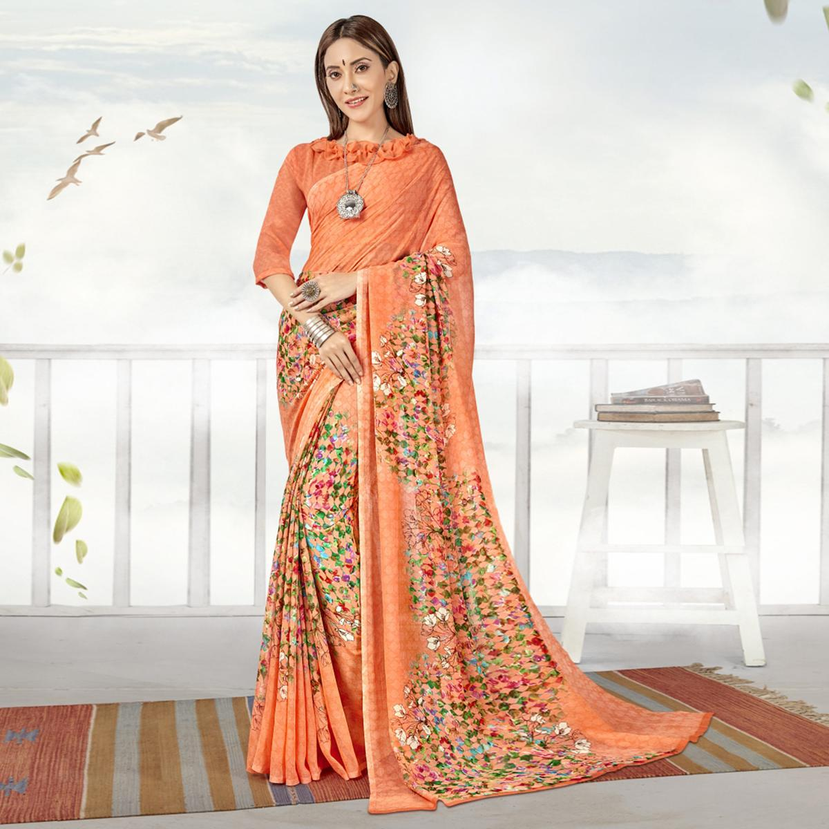 Magnetic Peach Color Casual Printed Georgette Saree