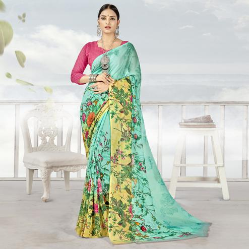 Hypnotic Aqua Blue Color Casual Printed Georgette Saree