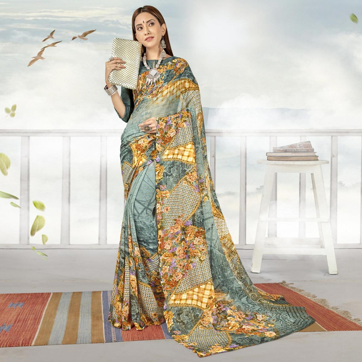 Flattering Grey Color Casual Printed Georgette Saree