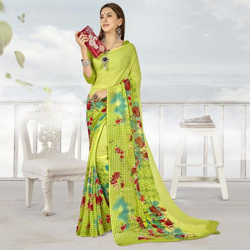 Excellent Lemon Green Color Casual Printed Georgette Saree