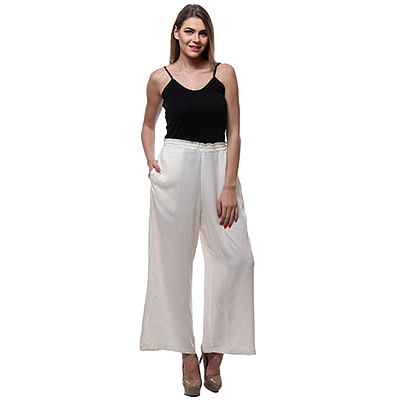 Solid Off White Palazzo Pant