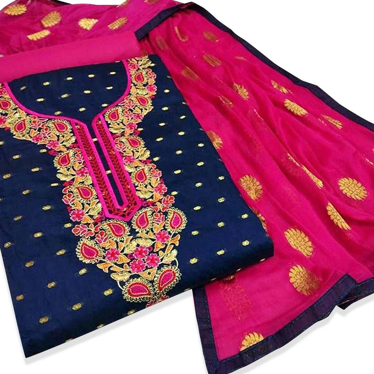 Appealing Navy Blue Colored Embroidered Partywear Chanderi Silk Dress Material