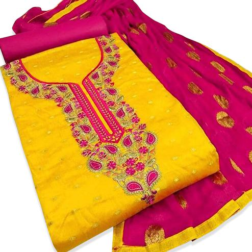 Capricious Yellow Colored Embroidered Partywear Chanderi Silk Dress Material