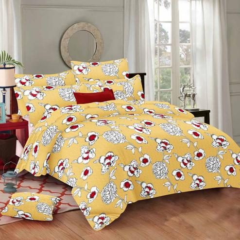 Radiant Yellow Colored Floral Printed Cotton Double Bedsheet With Pillow Cover