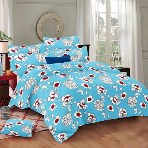Energetic Blue Colored Floral Printed Cotton Double Bedsheet With Pillow Cover