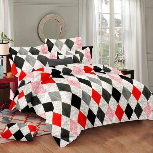 Glowing Multi Colored Geometric Printed Cotton Double Bedsheet With Pillow Cover