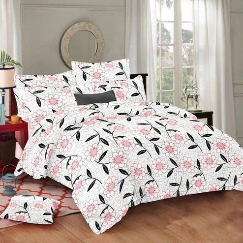 Exceptional White Colored Floral Printed Cotton Double Bedsheet With Pillow Cover