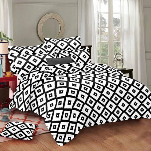 Gleaming White Colored Geometric Printed Cotton Double Bedsheet With Pillow Cover