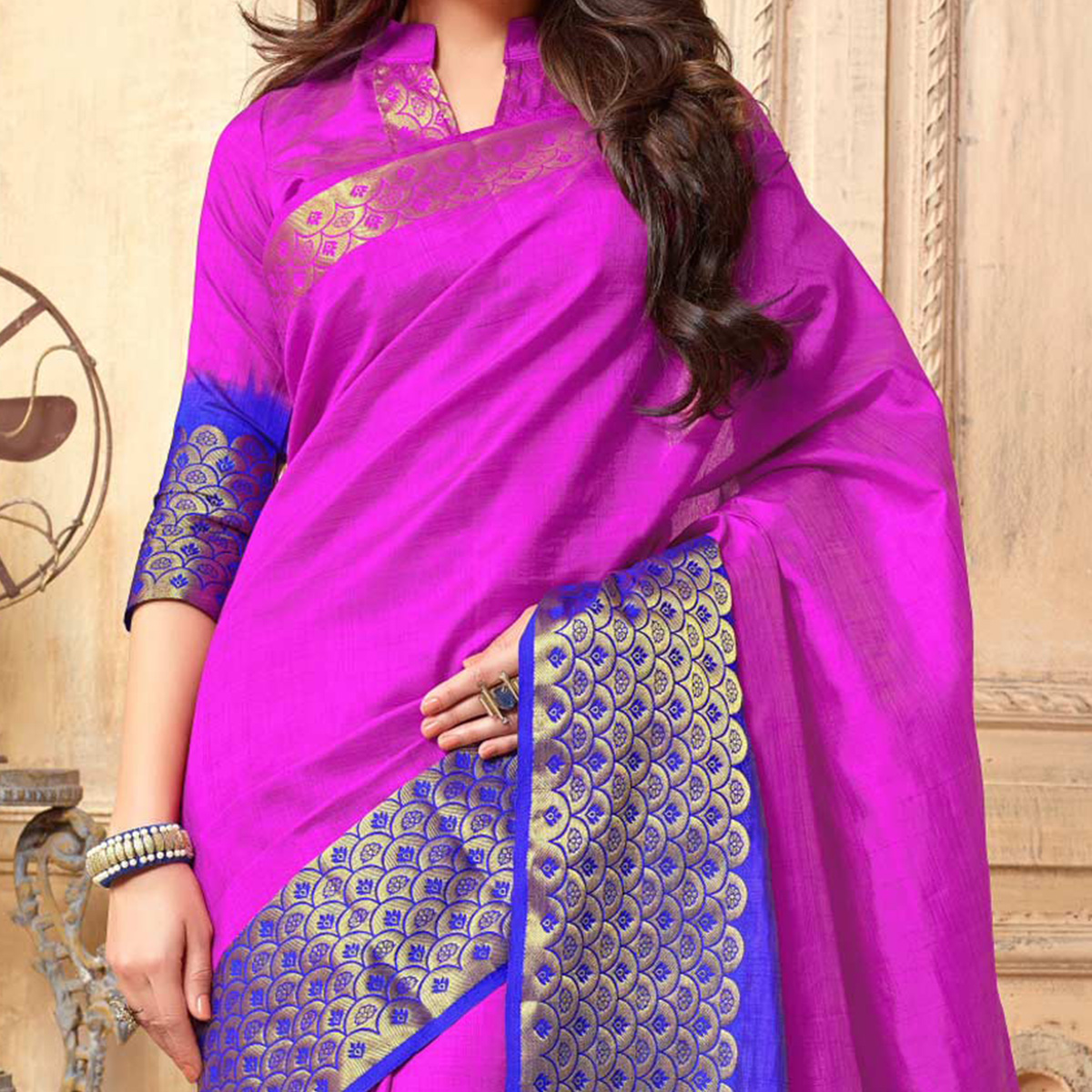 Hot Pink Big Border Printed Saree