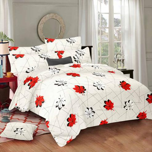 Mesmeric Cream Colored Floral Printed Cotton Double Bedsheet With Pillow Cover
