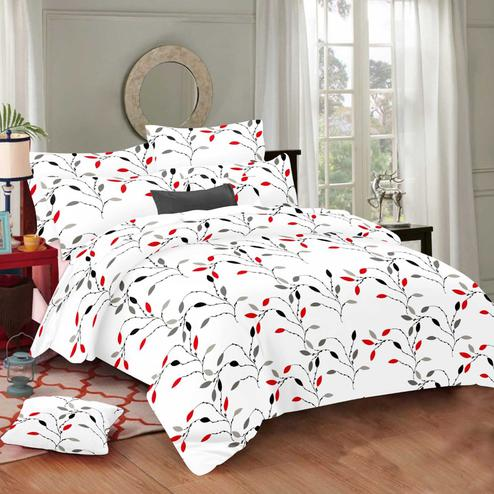 Magnetic White Colored Floral Printed Cotton Double Bedsheet With Pillow Cover