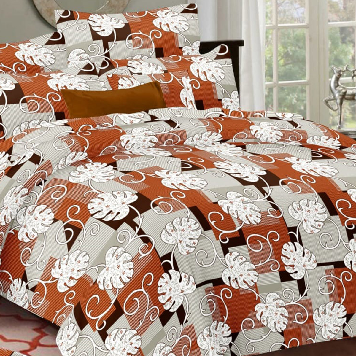 Hypnotic Rust Orange Colored Floral Printed Cotton Double Bedsheet With Pillow Cover