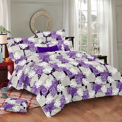 Arresting Purple Colored Floral Printed Cotton Double Bedsheet With Pillow Cover