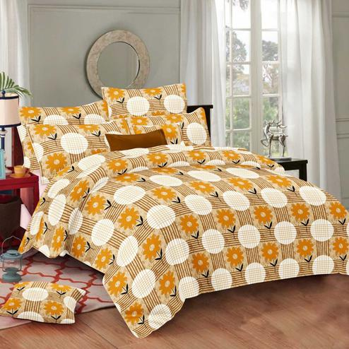 Desirable Yellow Colored Floral Printed Cotton Double Bedsheet With Pillow Cover