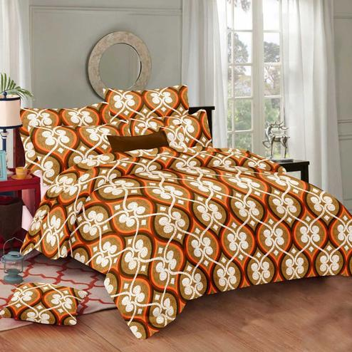 Sophisticated Orange Colored Printed Cotton Double Bedsheet With Pillow Cover