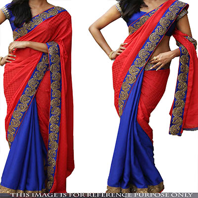 Plain Red - Royal Blue Half & Half Saree