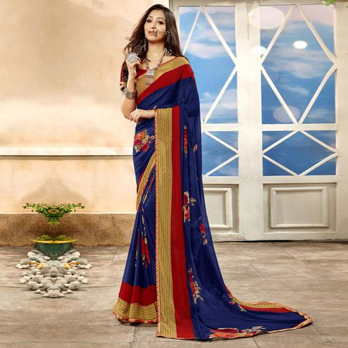 Blooming Navy Blue Colored Casual Printed Georgette Saree